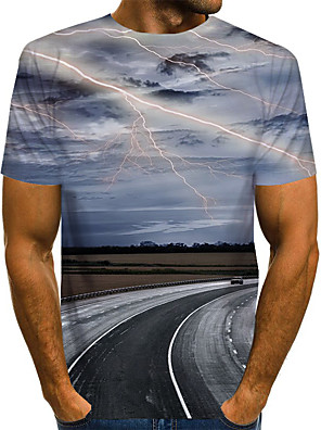 cheap Evening Dresses-Men's T-shirt Graphic Scenery Print Short Sleeve Tops Basic Exaggerated Round Neck Blue Purple Red