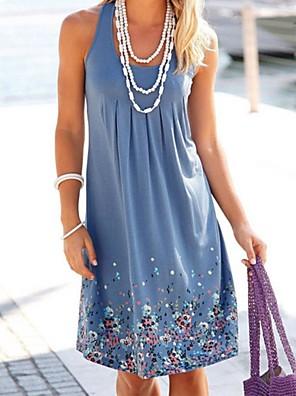 cheap Summer Dresses-Women's A-Line Dress Knee Length Dress - Sleeveless Floral Summer Casual 2020 Black Blue Purple Yellow Blushing Pink Army Green Fuchsia Orange Khaki Gray S M L XL XXL XXXL XXXXL XXXXXL