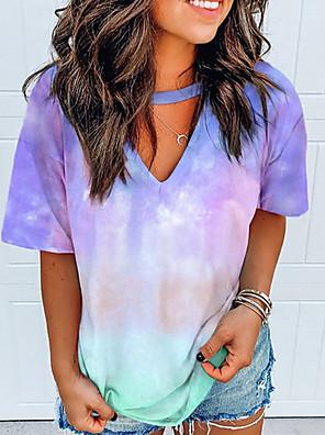cheap Women's Blouses & Shirts-Women's T-shirt Tie Dye V Neck Tops Summer White Black Blue