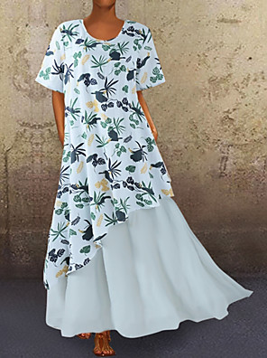 cheap Maxi Dresses-Women's A-Line Dress Maxi long Dress - Short Sleeves Floral Summer Casual 2020 Blue Yellow M L XL XXL XXXL XXXXL