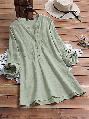 cheap Women's Blouses & Shirts-Women's Blouse Solid Colored V Neck Tops Loose Cotton Basic Summer Yellow Light Green