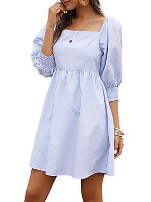 cheap Women's Dresses-Women's A-Line Dress Short Mini Dress - 3/4 Length Sleeve Striped Summer Square Neck Work Casual 2020 Black Blue S M L XL