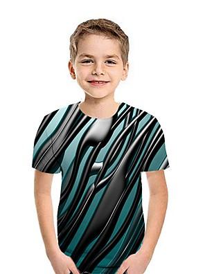cheap Boys' Tops-Kids Boys' Street chic Geometric Short Sleeve Tee Wine