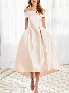 cheap Homecoming Dresses-Ball Gown Elegant Vintage Engagement Prom Dress Off Shoulder Short Sleeve Ankle Length Satin with Sleek 2020
