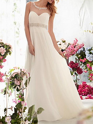 cheap Wedding Dresses-A-Line Wedding Dresses Jewel Neck Sweep / Brush Train Chiffon Tulle Sleeveless Simple Beach See-Through Backless with Sashes / Ribbons Crystals 2020