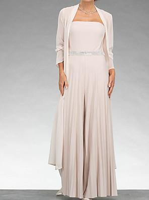 cheap Evening Dresses-Jumpsuits Mother of the Bride Dress Elegant Sweetheart Neckline Floor Length Chiffon 3/4 Length Sleeve with Sash / Ribbon Pleats 2020