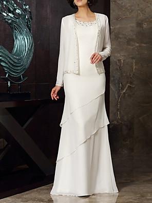 cheap Evening Dresses-Two Piece Sheath / Column Mother of the Bride Dress Elegant Jewel Neck Floor Length Chiffon Long Sleeve with Beading Cascading Ruffles 2020