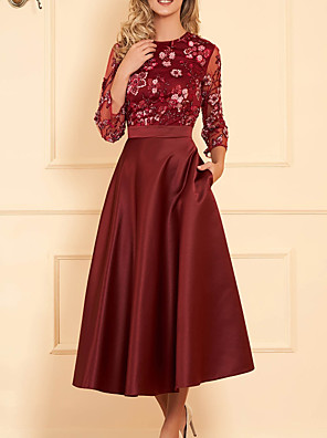 cheap Evening Dresses-A-Line Mother of the Bride Dress Elegant Illusion Neck Jewel Neck Ankle Length Lace Satin Long Sleeve with Pleats Appliques Flower 2020