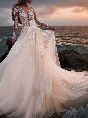 cheap Wedding Dresses-A-Line Wedding Dresses Jewel Neck Court Train Lace Tulle Long Sleeve Beach Sexy See-Through with Embroidery Appliques 2020