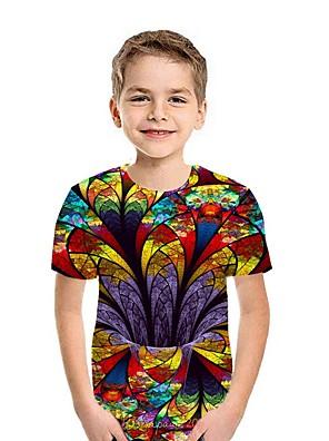 cheap Boys' Tops-Kids Boys' Street chic Geometric Short Sleeve Tee Black