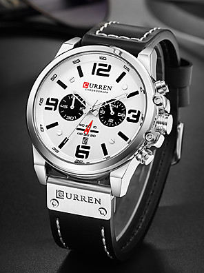 cheap Sport Watches-CURREN Men's Sport Watch Military Watch Quartz Luxury Water Resistant / Waterproof PU Leather Black / Red / Brown Analog - Black Blue Red / Altimeter / Calendar / date / day / Chronograph