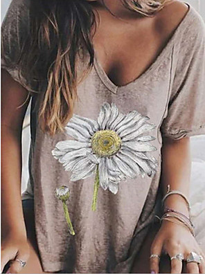 cheap Women's T-shirts-Women's T-shirt Graphic V Neck Tops Summer Green Brown