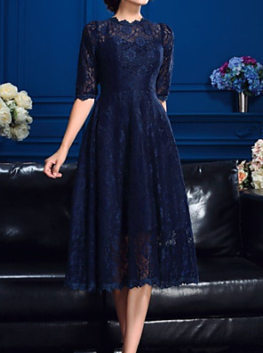 cheap Mother of the Bride Dresses-A-Line Mother of the Bride Dress Elegant Jewel Neck Tea Length Lace Half Sleeve with Embroidery 2020