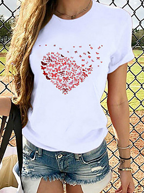 cheap Women's T-shirts-Women's T-shirt Heart Graphic Prints Printing Round Neck Tops Loose 100% Cotton Basic Top Cat White Black