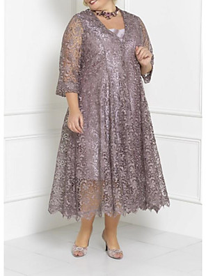 cheap Mother of the Bride Dresses-Two Piece Sheath / Column Mother of the Bride Dress Elegant Plus Size Square Neck Tea Length Chiffon Lace 3/4 Length Sleeve with Appliques 2020