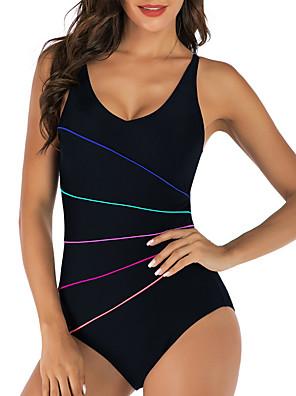 cheap Plus Size Swimwear-Women's Slim Tummy Control One-piece Swimwear Swimsuit Bathing Suits - Solid Colored Black Navy Blue S M L
