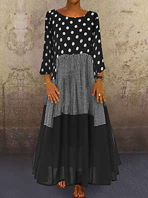 cheap Maxi Dresses-Women's A-Line Dress Maxi long Dress - Long Sleeve Polka Dot Patchwork Print Spring Fall Plus Size Casual Holiday Vacation Loose 2020 Black Red Yellow M L XL XXL XXXL XXXXL XXXXXL