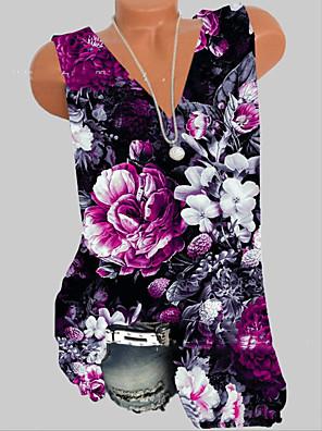 cheap Print Dresses-Women's Tank Top Geometric V Neck Tops Summer Purple