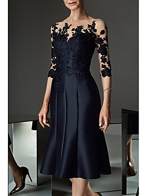 cheap Evening Dresses-A-Line Mother of the Bride Dress See Through Bateau Neck Knee Length Lace Satin 3/4 Length Sleeve with Buttons Appliques 2020