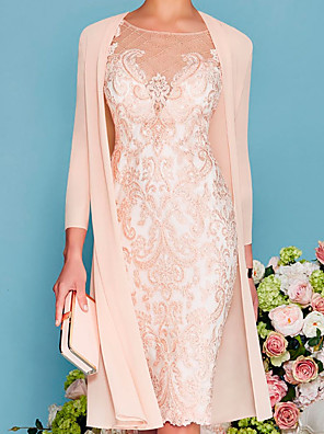 cheap Cocktail Dresses-Two Piece Sheath / Column Mother of the Bride Dress Elegant Jewel Neck Knee Length Lace 3/4 Length Sleeve with Embroidery 2020