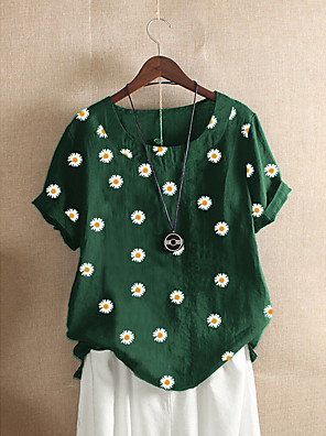 cheap Women's Blouses & Shirts-Women's Blouse Floral Print Round Neck Tops Loose Cotton Basic Summer Wine Black Orange
