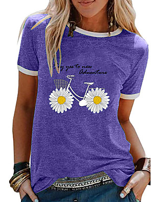 cheap Women's T-shirts-Women's Floral Daisy T-shirt Daily Black / Purple / Pink / Blue / Light Green