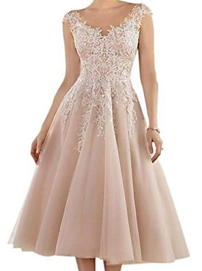 cheap Mother of the Bride Dresses-A-Line Mother of the Bride Dress Elegant V Neck Tea Length Lace Tulle Sleeveless with Pleats Appliques 2020