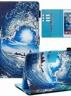 cheap iPad case-Case For Apple iPad Mini 3/2/1 / iPad Mini 4 / iPad Mini 5 Wallet / Card Holder / with Stand Full Body Cases Sea Wave and Sun PU Leather / TPU