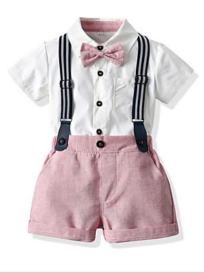 cheap Boys' Clothing Sets-Kids Toddler Boys' Basic Color Block Short Sleeve Clothing Set Blushing Pink