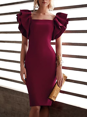 cheap Cocktail Dresses-Back To School Sheath / Column Elegant Beautiful Back Homecoming Cocktail Party Dress Scoop Neck Short Sleeve Knee Length Spandex with Sleek 2020 Hoco Dress