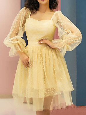 cheap Homecoming Dresses-A-Line Flirty Vintage Graduation Cocktail Party Dress Scoop Neck Long Sleeve Short / Mini Tulle with Pleats Beading 2020