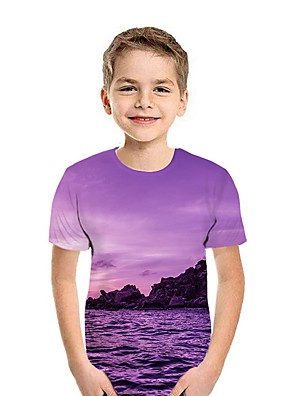 cheap Boys' Tops-Kids Boys' Street chic 3D Short Sleeve Tee Purple