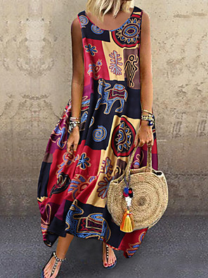 cheap For Young Women-Women's Strap Dress Midi Dress - Sleeveless Print Print Summer Casual Daily Cotton Loose 2020 Blue Red Yellow M L XL XXL XXXL XXXXL XXXXXL