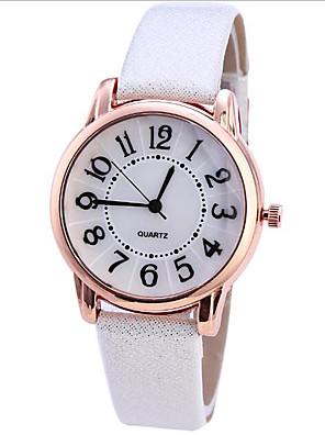 cheap Quartz Watches-Women's Quartz Watches Quartz Stylish Fashion Casual Watch PU Leather Black / Brown Analog - White Blushing Pink White+Gray One Year Battery Life