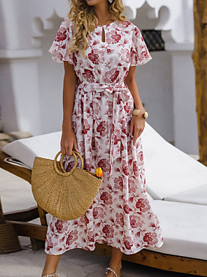 baratos Para Mulheres Jovens-Mulheres Vestido A-Line Vestidos Midi - Manga Curta Floral Verão Casual 2020 Branco S M L XL
