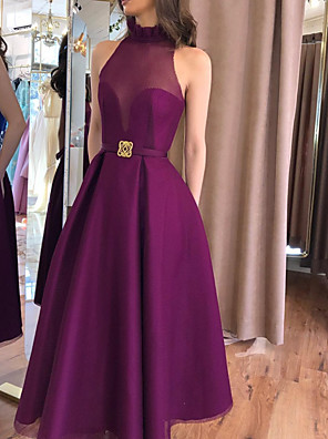 cheap Prom Dresses-A-Line Elegant Minimalist Engagement Formal Evening Dress High Neck Sleeveless Floor Length Satin with Sash / Ribbon Pleats 2020