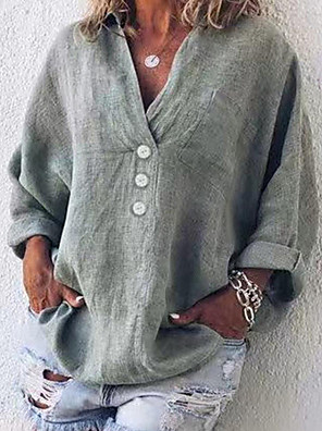 cheap Women's Pants-Women's Shirt Solid Colored V Neck Tops Loose Summer Green Dusty Blue Gray