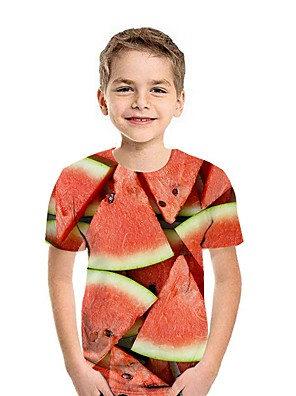 cheap Boys' Tops-Kids Boys' Street chic Fruit Short Sleeve Tee Blue