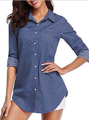 Χαμηλού Κόστους Για νεαρές γυναίκες-Γυναικεία Τζιν πουκάμισο Μονόχρωμο Κολάρο Πουκαμίσου Άριστος Θαλασσί