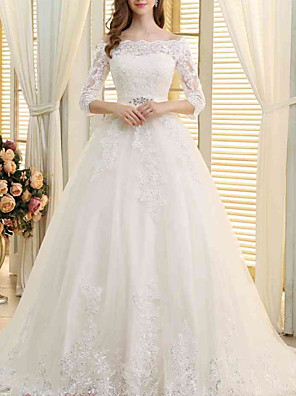 cheap Prom Dresses-A-Line Wedding Dresses Off Shoulder Sweep / Brush Train Lace Tulle 3/4 Length Sleeve Formal with Embroidery Crystal Brooch 2020