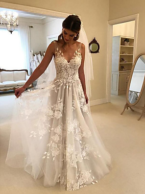 cheap Evening Dresses-A-Line Wedding Dresses V Neck Court Train Lace Regular Straps Formal Casual Beach with 2020