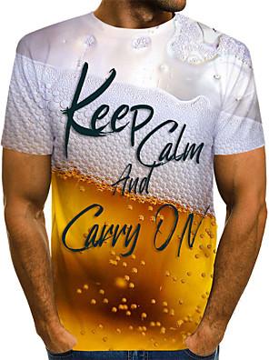 お買い得  メンズTシャツ&タンクトップ-男性用 プラスサイズ Tシャツ グラフィック ビール 半袖 トップの ベーシック ラウンドネック イエロー