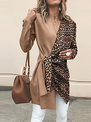 cheap Women's Blouses & Shirts-Women's Leopard Cardigan Long Sleeve Loose Sweater Cardigans V Neck Spring Fall Brown