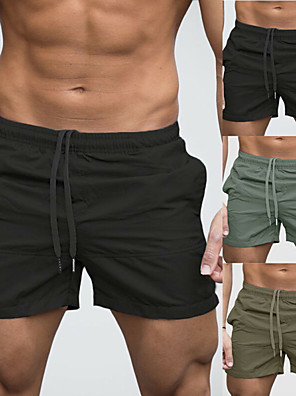 cheap Suits-Men's Swim Shorts Swim Trunks Bottoms Breathable Quick Dry Drawstring - Swimming Beach Water Sports Solid Colored Summer / Micro-elastic