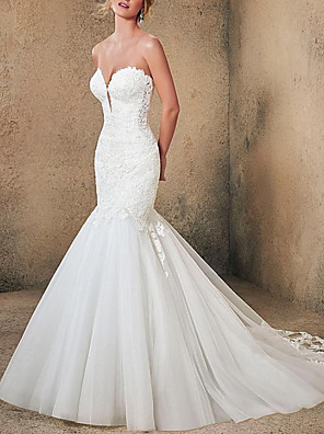 cheap Evening Dresses-Mermaid / Trumpet Wedding Dresses Strapless Sweep / Brush Train Lace Tulle Sleeveless Formal Sexy Backless with Embroidery Appliques 2020