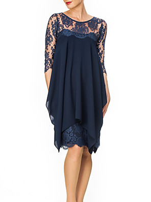cheap Mother of the Bride Dresses-Two Piece Sheath / Column Mother of the Bride Dress Elegant Illusion Neck Knee Length Chiffon Lace 3/4 Length Sleeve with Ruching 2020
