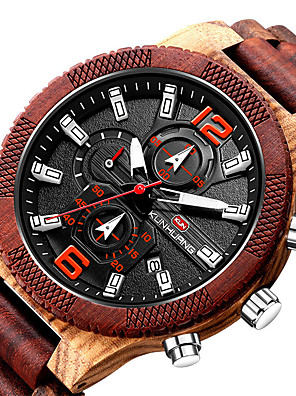 cheap Sport Watches-Men's Sport Watch Quartz Modern Style Stylish Casual Calendar / date / day Wood Analog - Black+Gloden Red Brown / Noctilucent