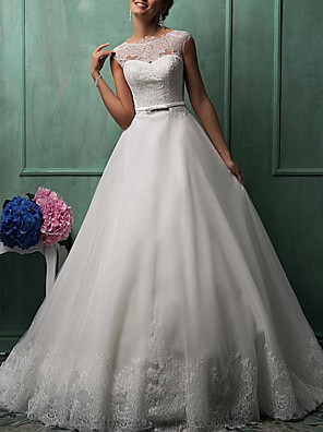 cheap Prom Dresses-Ball Gown A-Line Wedding Dresses Jewel Neck Sweep / Brush Train Lace Tulle Cap Sleeve Formal See-Through with Sashes / Ribbons Buttons Embroidery 2020