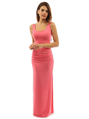 cheap Special Occasion Dresses-Women's Sheath Dress Maxi long Dress - Sleeveless Solid Color Summer Boat Neck Sexy Slim 2020 Black Blue Purple Red Blushing Pink Wine Green Royal Blue Beige Light Blue S M L XL XXL