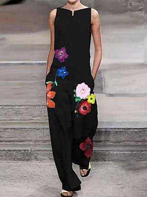 povoljno Ženski jednodijelni kostimi-Žene Crn Jumpsuits Onesie, Cvjetni print S M L